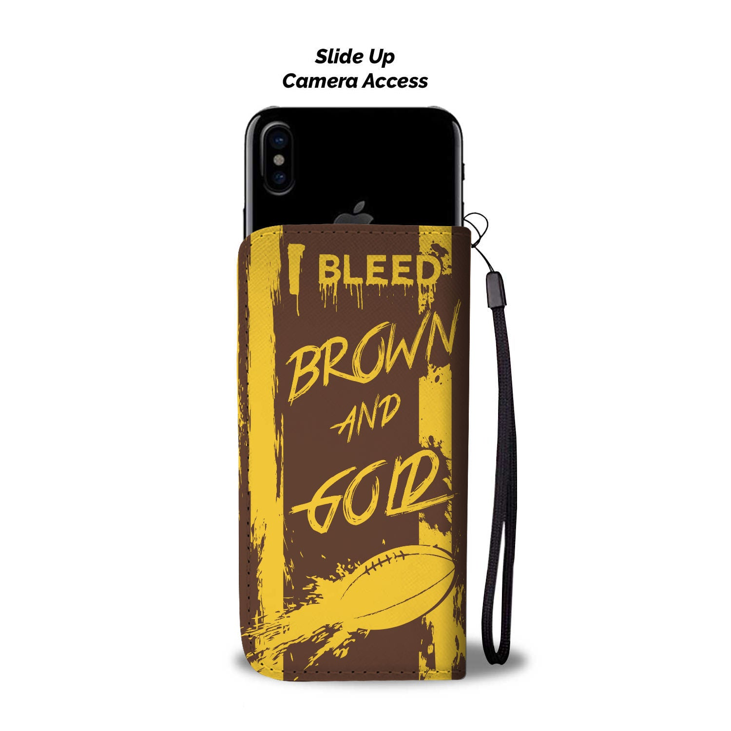 I Bleed Brown and Gold Phone Wallet (Aussie Rules)