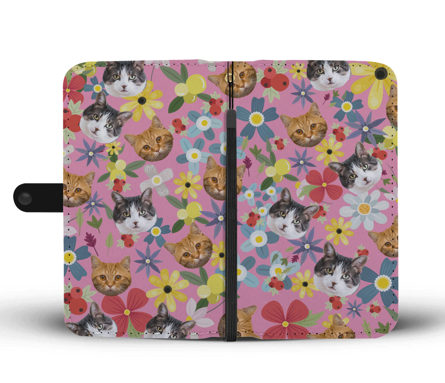 Custom cat flower phone wallet pink frequently asked questions mightylinksfo