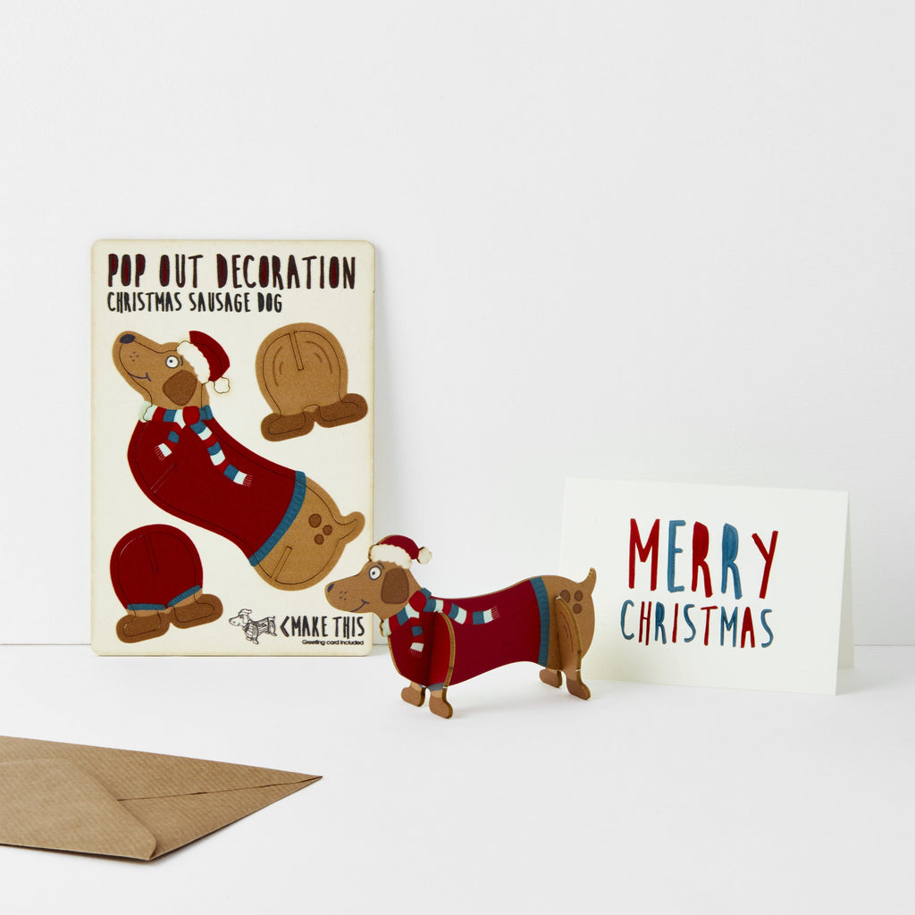 Sausage Dog Card Christmas Card The Pop Out Card Company The