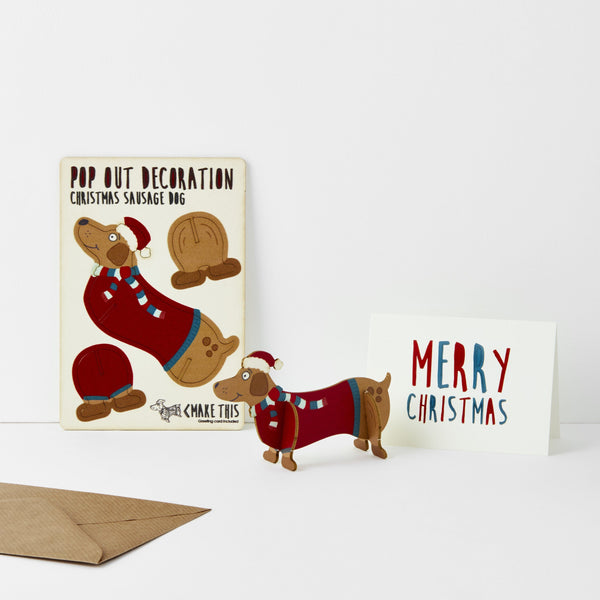 Pop Out Sausage Dog Christmas Card