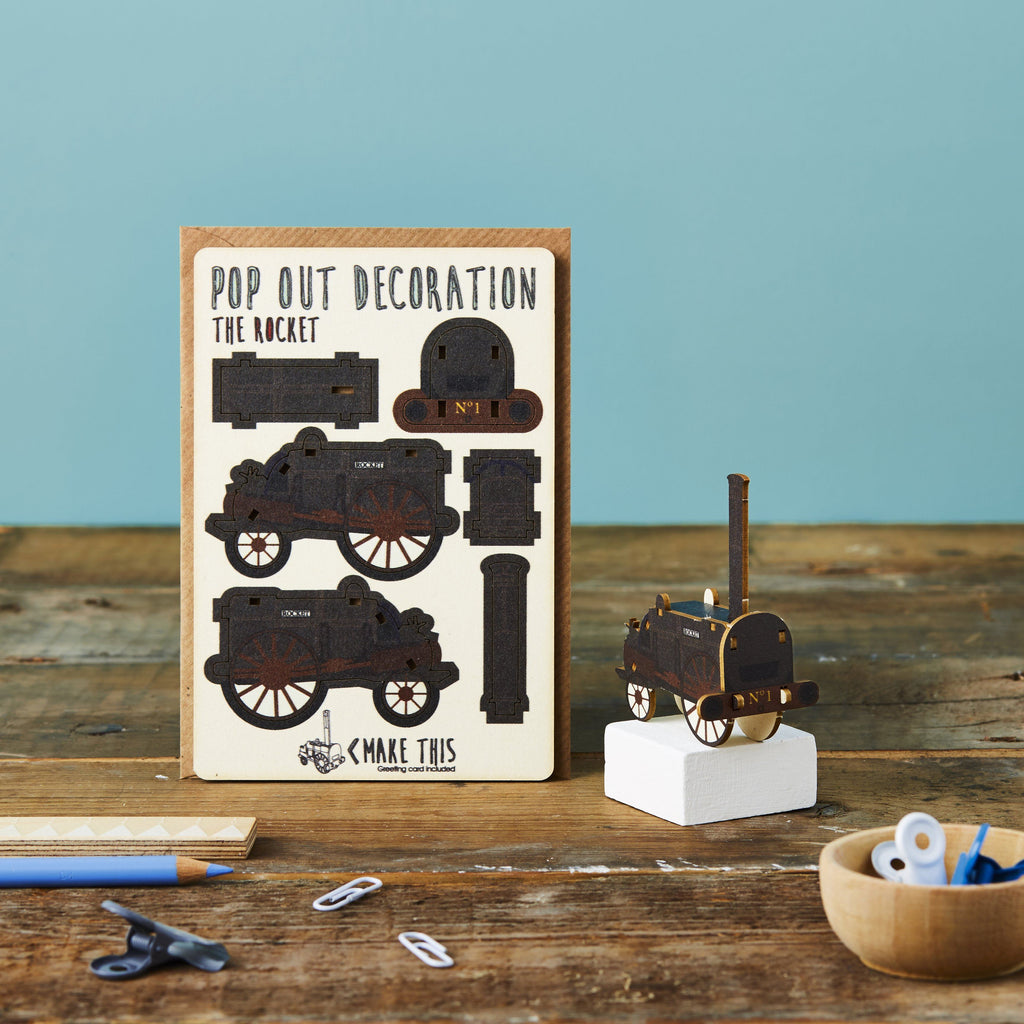 Pop Out The Rocket Train Greeting Card
