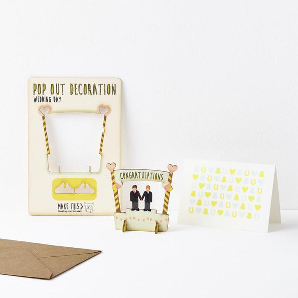 Pop Out Wedding Day Card - Groom and Groom