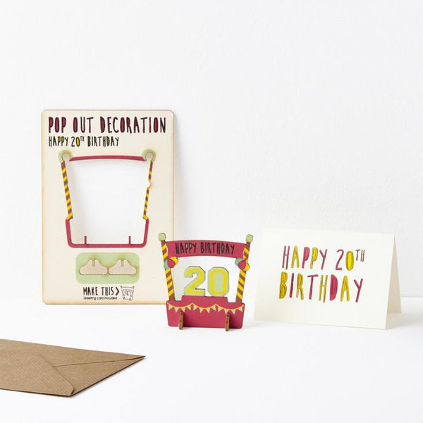 Pop Out 20th Birthday Card