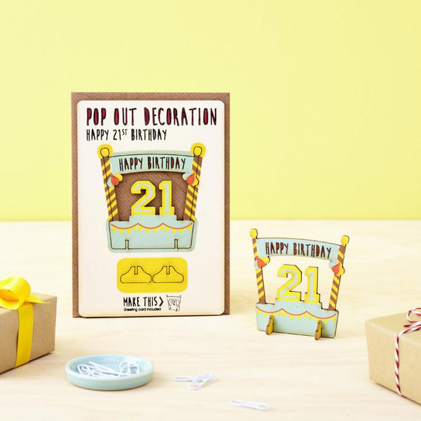 Pop Out 21st Birthday Card