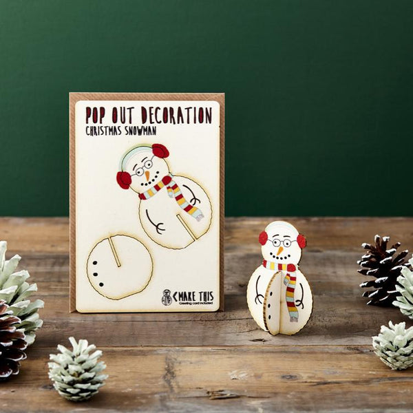 Pop Out Standing Snowman Christmas Card