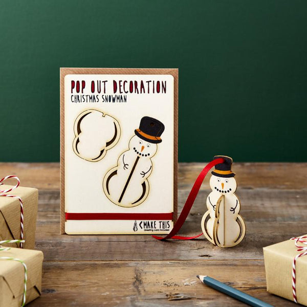 Pop Out Hanging Snowman Christmas Card