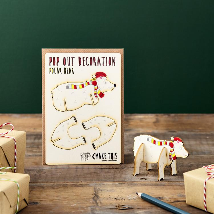 Pop Out Polar Bear Christmas Card