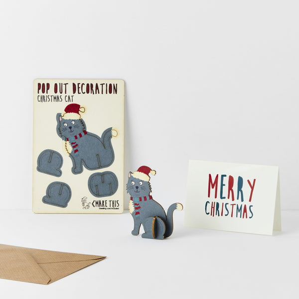 Pop Out Cat Christmas Card