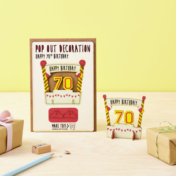 Pop Out 70th Birthday Card