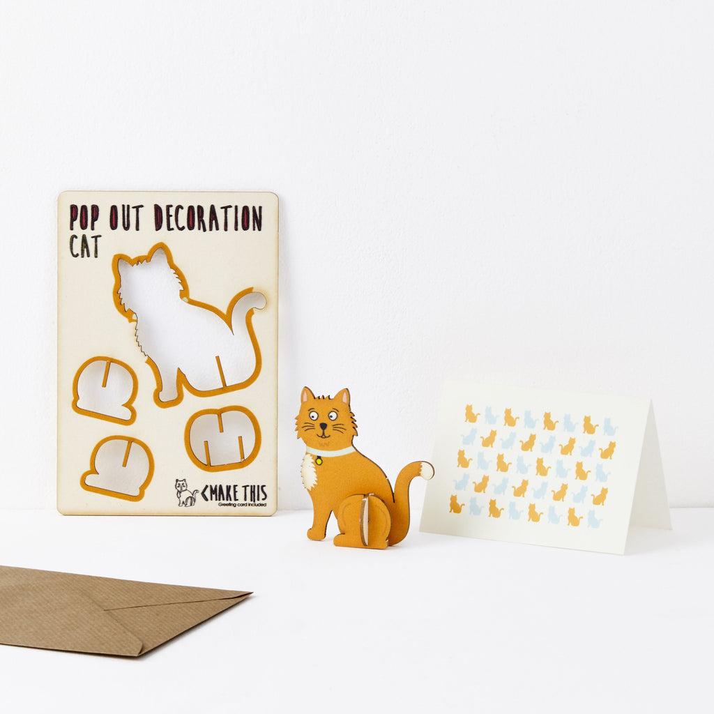 Pop Out Ginger Cat Greeting Card