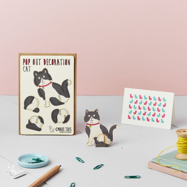 Pop Out Black & White Cat Greeting Card