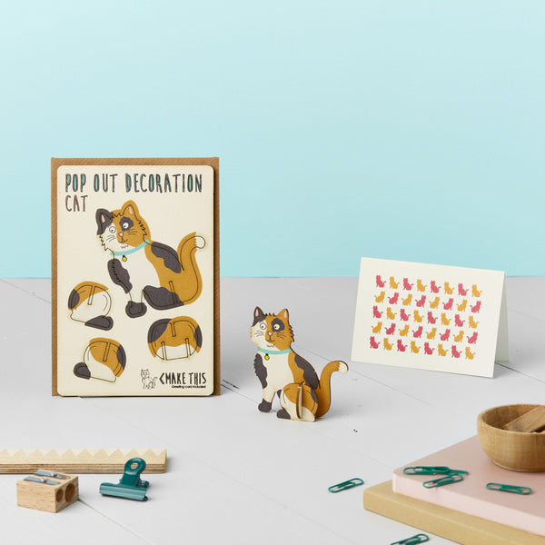 Pop Out Calico Cat Greeting Card