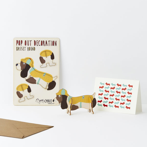 Pop Out Basset Hound Greeting Card
