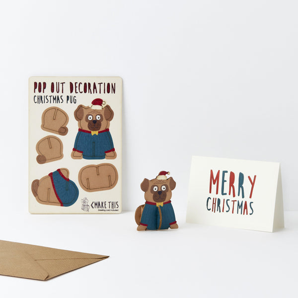 Pop Out Pug Christmas Card
