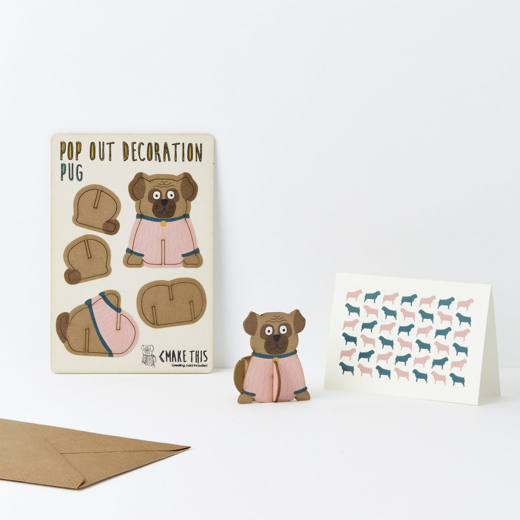Pop Out Pug Greeting Card