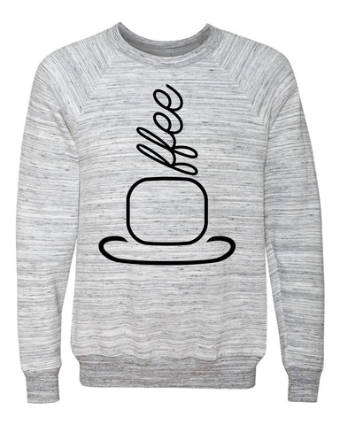 Coffee sweatshirt.  Stylized coffee cup with steam spelling Coffee. Crew neck sweatshirt