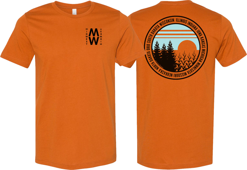 Burnt orange t-shirt with an MW logo on front and a sunset nature scene on back surrounded with the states of the Midwest
