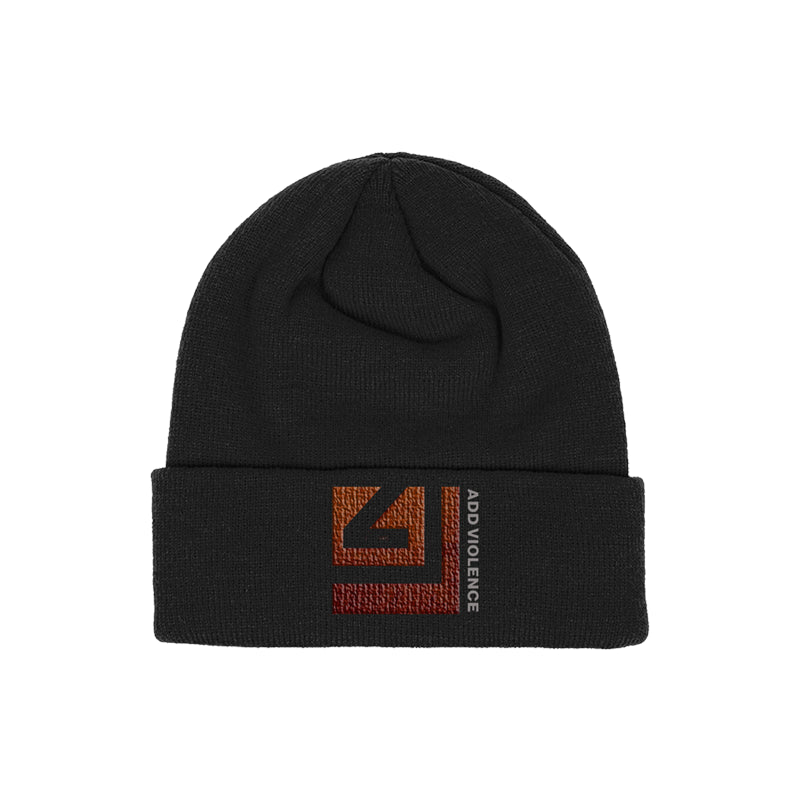 ADD VIOLENCE SQUARE BLACK BEANIE
