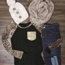 Leopard Printed Sequined Pocket Baseball T-Shirt O-Neck Casual Female Tee Top T Shirt
