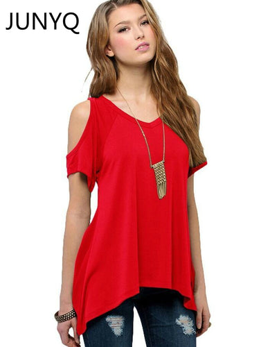 V pure cotton short sleeved Strapless collar fishtail hem female women T-shirt Free shipping S-5XL