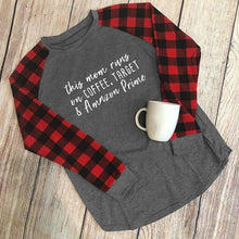 This Mom Runs On Coffee Letters Printed T Shirt Gray Splicing Full Sleeve Casual Tees Top