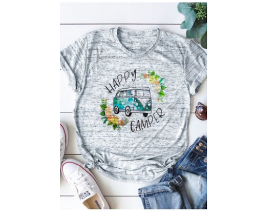 Happy Camper Grey Polyester Women's Short Sleeve Top Creative Classic Car Print Woman's T-shirt Summer Cool Girl's T-Shirt