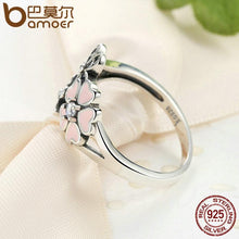Pink Flower Poetic Daisy Cherry Blossom Finger Ring 925 Sterling Silver