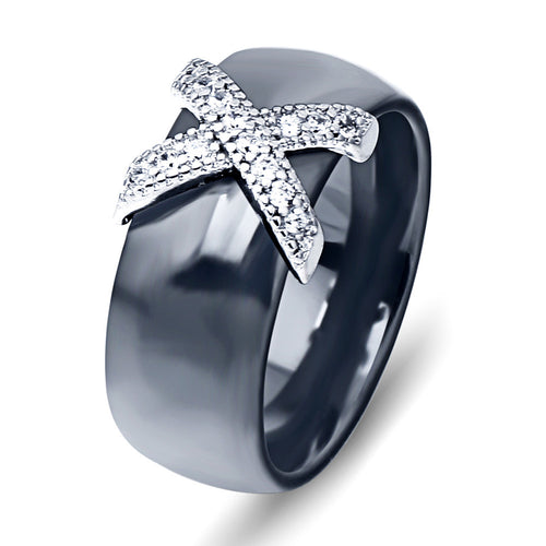 Stainless Steel Ring in black or white