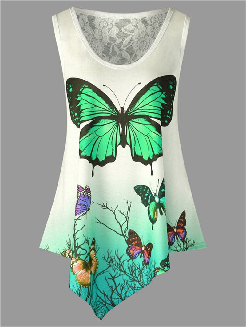 Butterfly feather Print Loose 5XL Plus Size Female Tops