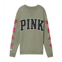 Pink  Love T Shirt Autumn Casual T-Shirt Tops Flower Leaves Letter Print Round Neck Rose Long Sleeve T-Shirt