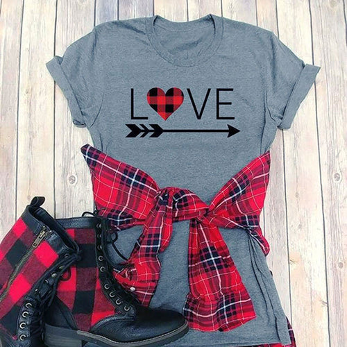 Love Arrow O-Neck T-Shirt Summer Female t shirt Ladies Tops