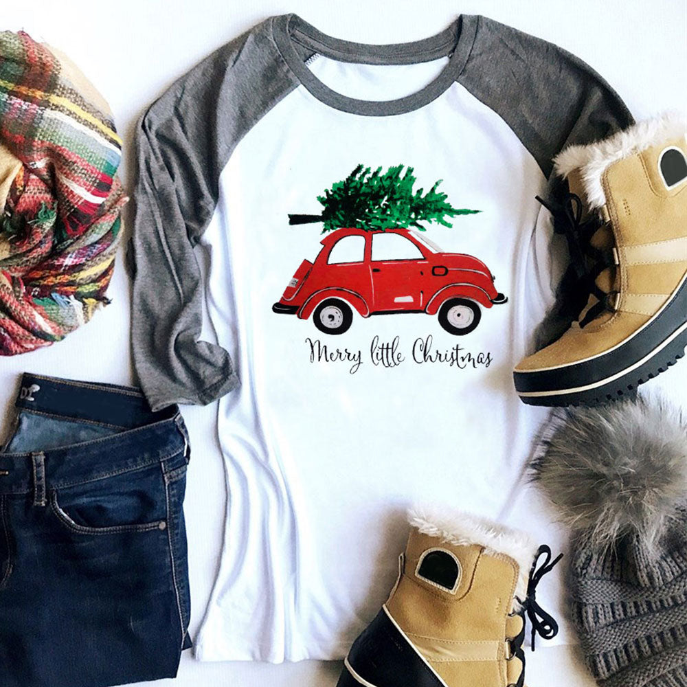 Christmas Tree Red Car Baseball T-Shirt Casual Female White O-Neck - Beth's Closet