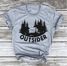 Outsider T-shirt Camping Tee Camper Shirt Go Outdoo Hiking Tshirt, Adventure funny graphic slogan tree shirts gift goth art tops