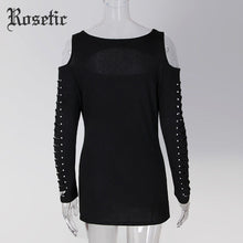 Rosetic Gothic Harajuku Slim T-Shirt Wing Print Cut-Out Long Sleeve Round Neck Off Shoulder Hollow Out Casual Fashion Punk Tees