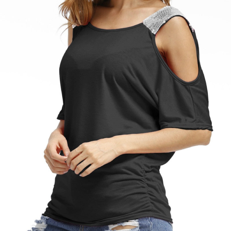 Sexy Sequined TShirts Summer Women Loose Casual O-neck T-shirts Cold Shoulder Short Sleeve Solid Tops Shirts Plus Size GV679