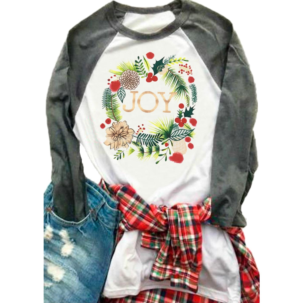 Christmas JOY Floral Splicing Long Sleeve T-Shirt White Female Casual t shirt Christmas Ladies Tops Tee - Beth's Closet