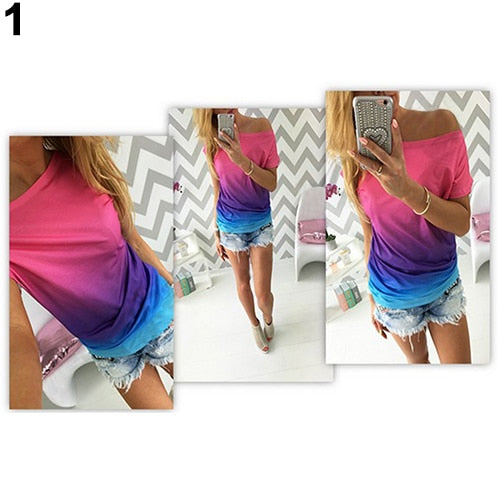 Women's Casual Loose Gradient Color Short Sleeve Round Neck T-Shirt Tee Top