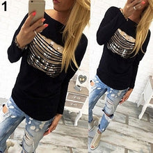 Blue Fashion Loose Pullover T-shirt Long Sleeve Cotton Tops Shirt Tee - Beth's Closet