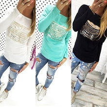 Blue Fashion Loose Pullover T-shirt Long Sleeve Cotton Tops Shirt Tee