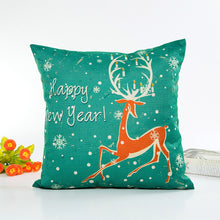 Happy Christmas Pillow Cases Linen Sofa Cushion Cover Home Decor Pillow Core
