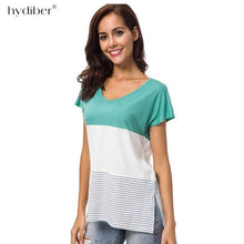 Plus Size Women's Clothing Patchwork Fashion T-shirt Female V Neck Short Sleeve Casual Tee Shirt Tops Femme