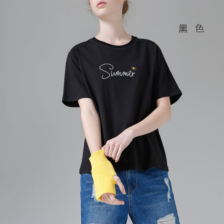 Toyouth Embroidery Letters Summer Women T-Shirts Casual Solid Base Tops All-Match Short Sleeve O-Neck Black Tees Shirt Femme