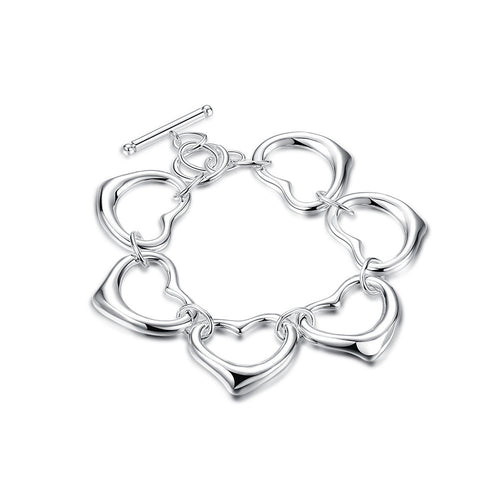 Hearts Bracelet in 18K White Gold Plated