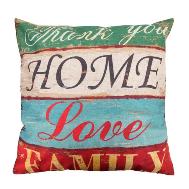 Quote Cushion Pillow Case Creative letters Pattern Day Gift Pillow case Throw Pillow Cover