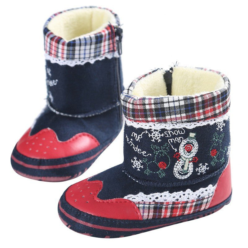 kid baby girl shoes Classic Christmas baby soft soled boots thickening infant toddler shoes Plus cashmere Snow Boots