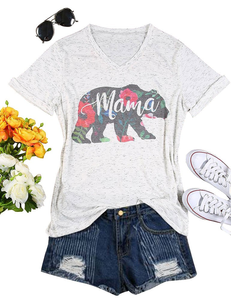 Mom's T-shirt Cute Letter Print MAMA Summer Colorful V Neck Shirt for Mom's Gift