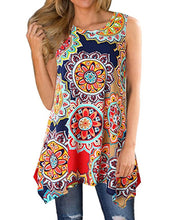 Women Summer Boho Print Round Neck Sleeveless Asymmetric Hem T-shirt Tops