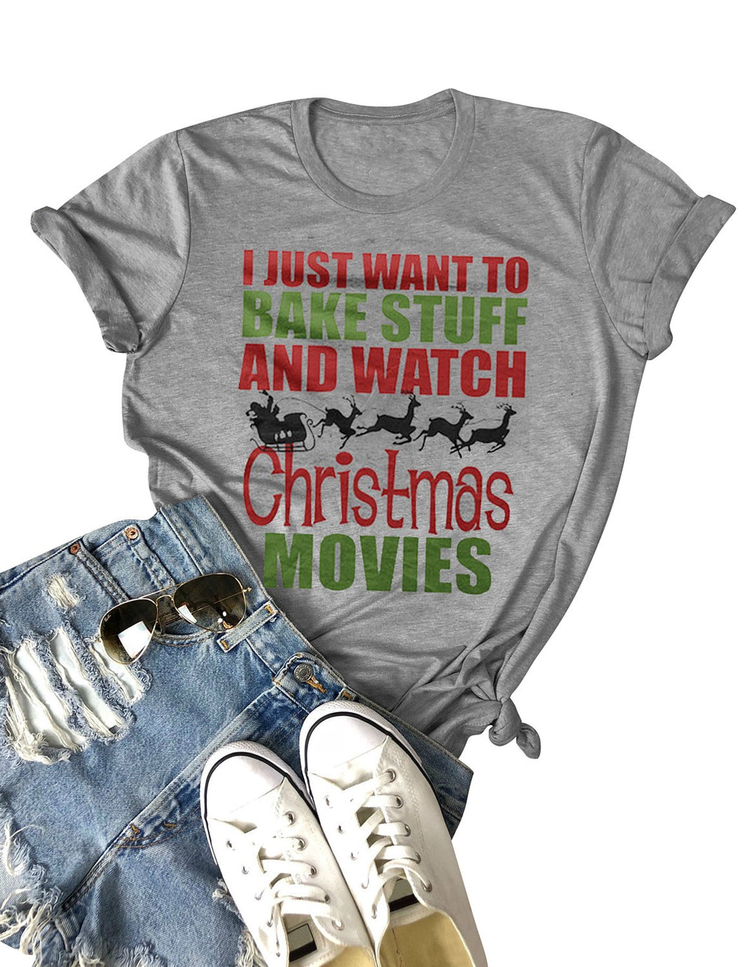 Women Bake Stuff And Watch Christmas Movies Letter Print Crew Neck Short Sleeves Solid Color Tops T-shirt