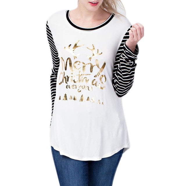 Women Lady Top T-shirt Tee Long Sleeve Round Collar Fashion Christmas Style Printing -MX8