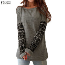 Slim Printed sleeves Shirts Autumn Female O Neck Long Sleeve Cotton Tee Tops Blusas Plus Size
